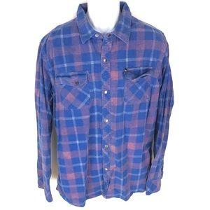 Quiksilver Men's Blue L/S Button Front Shirt XL